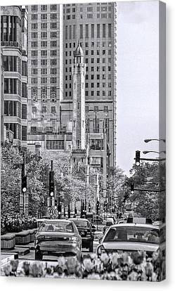 Chicago Water Tower Beacon Black And White Canvas Print