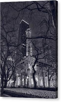 Chicago Water Tower Dusk B W Canvas Print by Steve Gadomski