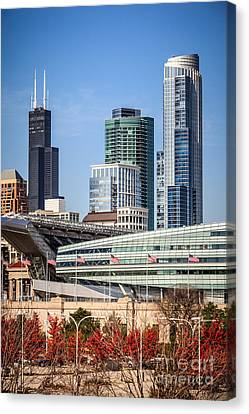 Chicago With Soldier Field And Sears Tower Canvas Print by Paul Velgos