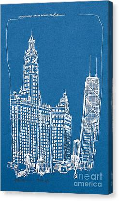 Chicago Wrigley And Hancock Bldgs Silkscreen Print Canvas Print