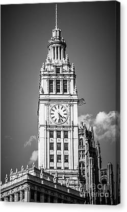 Chicago Wrigley Building Clock Black And White Picture Canvas Print