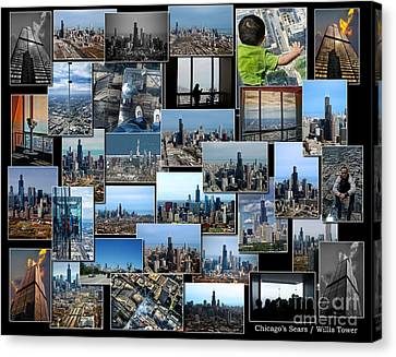 Chicago's Sears Willis Tower Collage Canvas Print by Thomas Woolworth