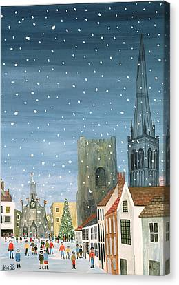 Naive Canvas Print - Chichester Cathedral A Snow Scene by Judy Joel