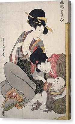 Chichi = About To Breastfeed, Kitagawa Canvas Print
