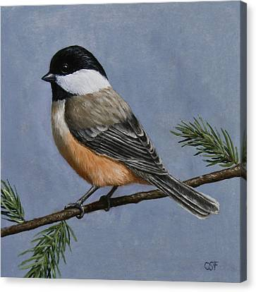 Bird Song Canvas Print - Chickadee Charm by Crista Forest