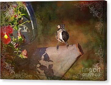 Chickadee Flower Pot Canvas Print by Debbie Portwood