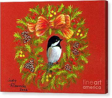 Chickadee Holiday Greeting Card Canvas Print by Judy Filarecki