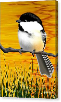 Chickadee On A Branch Canvas Print by John Wills