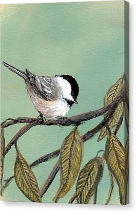 Chickadee Set 10 - Bird 1 Canvas Print by Kathleen McDermott
