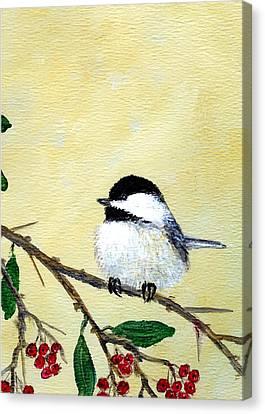 Chickadee Set 4 - Bird 2 - Red Berries Canvas Print by Kathleen McDermott