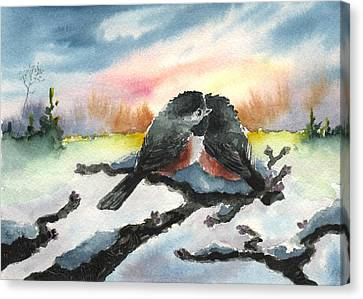Chickadee Sunset Snuggle Canvas Print by Sean Seal