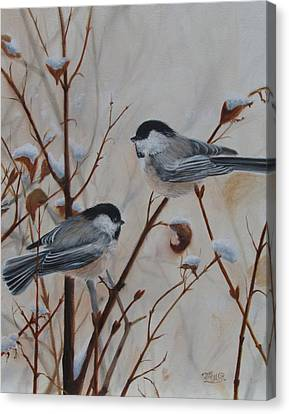 Chickadees Canvas Print by Tammy  Taylor