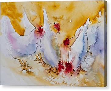 Canvas Print featuring the painting Chickens Feed by Jani Freimann
