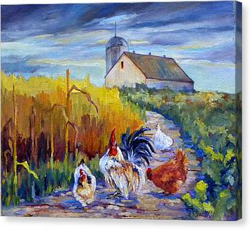 Chickens In The Cornfield Canvas Print by Peggy Wilson