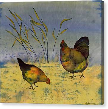 Chickens On Silk Canvas Print by Carolyn Doe