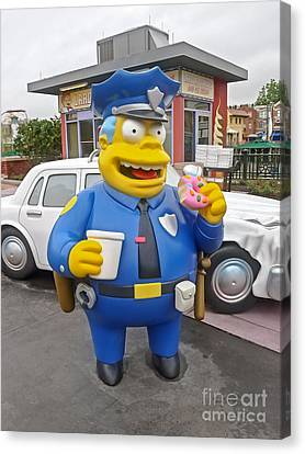 Chief Clancy Wiggum From The Simpsons Canvas Print by Edward Fielding