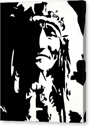 Native American Spirit Portrait Canvas Print - Chief Half In Darkness by HJHunt