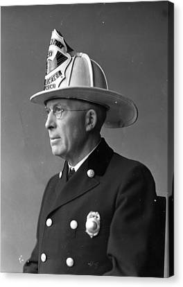 Chief John C. Mcdonnell Century Of Progress Fireman Chicago Canvas Print by Retro Images Archive