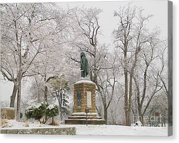 Chief Keokuk Statue In Ice Storm Canvas Print by Ed Vinson
