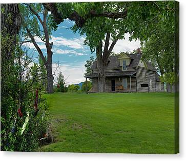 Old Cabins Canvas Print - Chief Plenty Coups Cabin by Leland D Howard