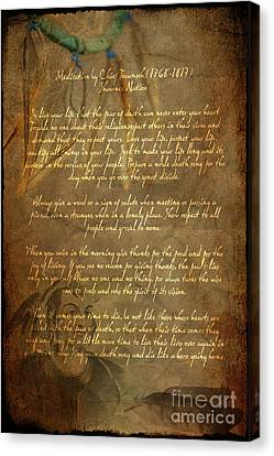 Chief Tecumseh Poem Canvas Print by Wayne Moran