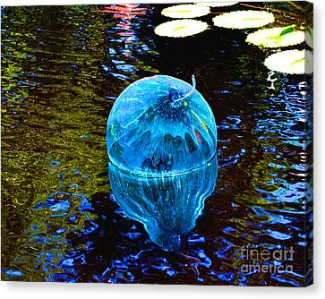 Artsy Blue Glass Float Canvas Print by Luther Fine Art