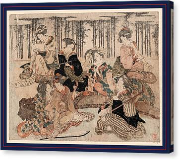 Bamboo Fence Canvas Print - Chikurin No Kabe No Mae No Shichikenjin by Shunman, Kubo (1757-1820), Japanese