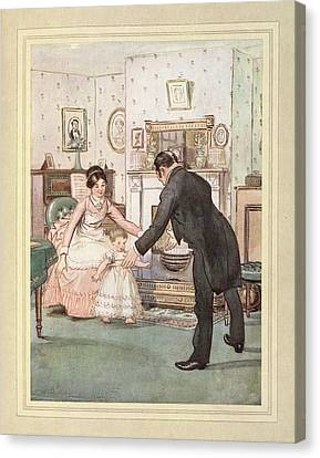 Child And Butler Canvas Print by British Library