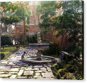 Child And Fountain Canvas Print by Terry Reynoldson