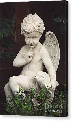 Child Angel Art - Little Boy Angel Art With Dolphin - Angel Child Photography Canvas Print