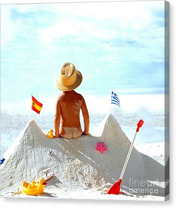 Child At The Beach Canvas Print by Manfred Uselmann