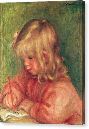 Youthful Canvas Print - Child Drawing by Pierre Auguste Renoir
