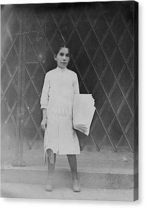 The Bowery Canvas Print - Child Labor, Newsgirl On The Bowery by Everett