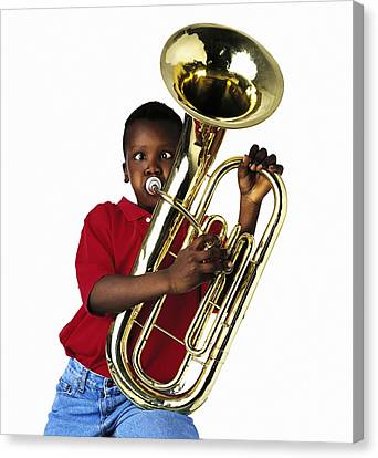 Child Playing Baritone Canvas Print by Ron Nickel