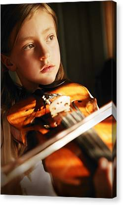 Child Playing Violin Canvas Print by Con Tanasiuk