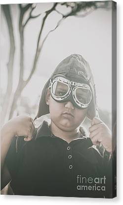 Vintage Airplane Canvas Print - Child Playing With Airplane Aviator Hat by Jorgo Photography - Wall Art Gallery