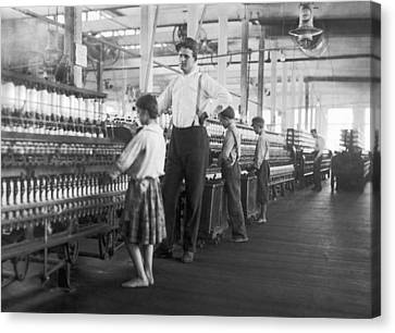 Child Spinner At Yarn Mills Canvas Print by Lewis Hine