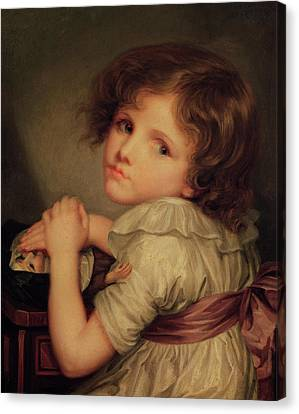 Child With A Doll Oil On Canvas Canvas Print by Anne Genevieve Greuze