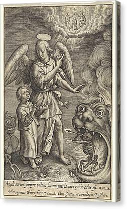 Guardian Angel Canvas Print - Child With Guardian Angel, Hieronymus Wierix by Hieronymus Wierix