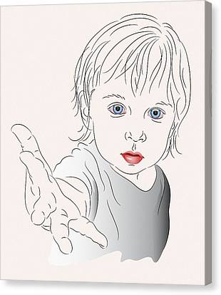 Child With Outstretched Hand Canvas Print