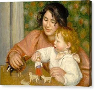 Child With Toys Gabrielle And The Artist S Son Jean Canvas Print