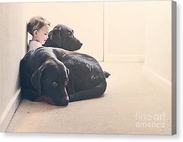 Child With Two Dogs Canvas Print by Justin Paget