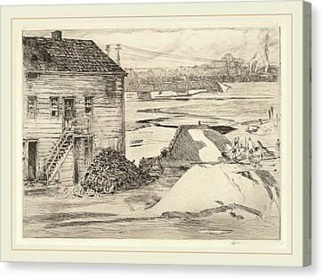 Childe Hassam, Low Tide, Cos Cob Bridge, American Canvas Print