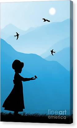 Nostalgia Canvas Print - Childhood Dreams 5 Feeding Time by John Edwards