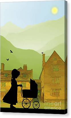 Doll Canvas Print - Childhood Dreams The Pram by John Edwards