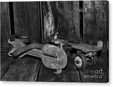 Rollerskate Canvas Print - Childhood Memories In Black And White by Paul Ward