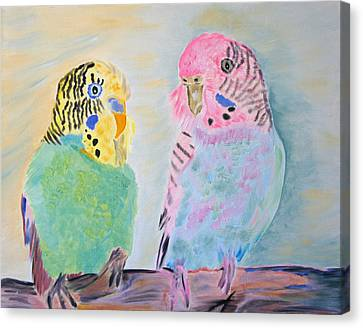 Childhood Parakeets Canvas Print by Meryl Goudey
