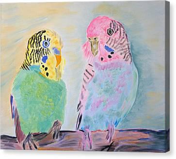 Childhood Parakeets Canvas Print