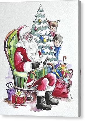 Childre Sneaking Around Santa Canvas Print