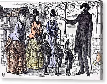 Children And A Broken Egg-shell 1874 Ladies Man Walk Street Canvas Print